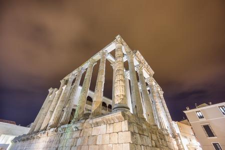 merida: Night view of Temple of Diana in Merida, side view