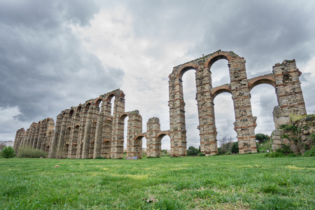 buttresses: Side view of Aqueduct of the Miracles in Merida Stock Photo