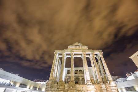diana: Night view of Temple of Diana in Merida (Front View) Stock Photo