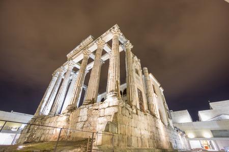 diana: Night view of Temple of Diana in Merida, corner view