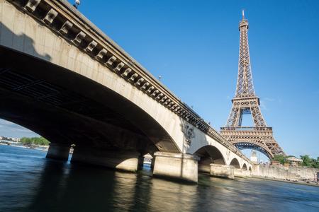 d'eiffel: The Eiffel Tower and bridge over Seine River in Paris