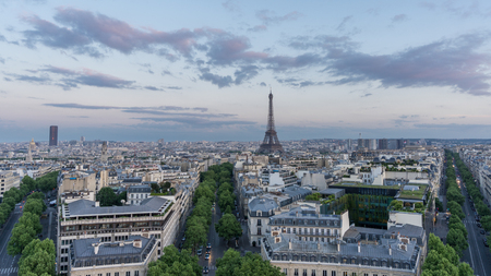 ''wide angle'': Wide angle skyline of Paris with eiffel tower at sunset