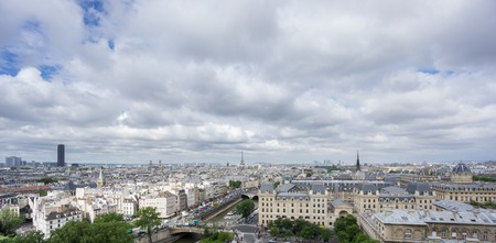 ''wide angle'': Wide angle skyline of Paris with Eiffel tower and Seine river Stock Photo