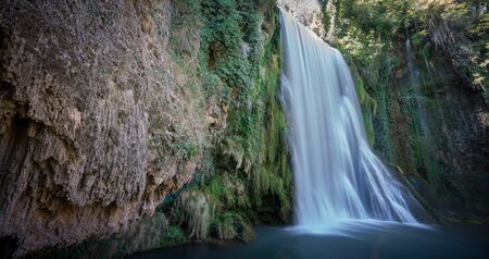 ''wide angle'': Wide angle view of waterfall at Monasterio de Piedra in Spain, long exposure