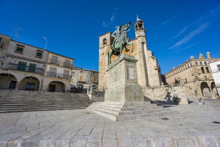 The old center of the town, Plaza Mayor at Trujillo with Francisco Pizarro statue. Spain