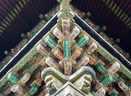 joist: Closeup view of details of temple roof Stock Photo