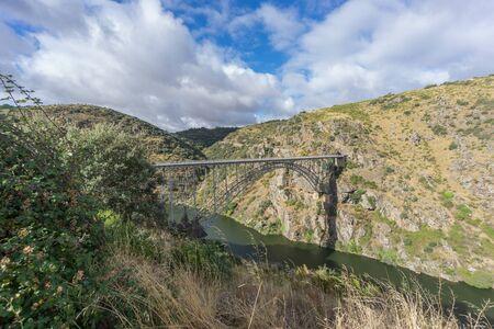 castile and leon: Requejo iron Bridge in Pino del Oro, Castile and Leon, Spain. Wide angle view Stock Photo