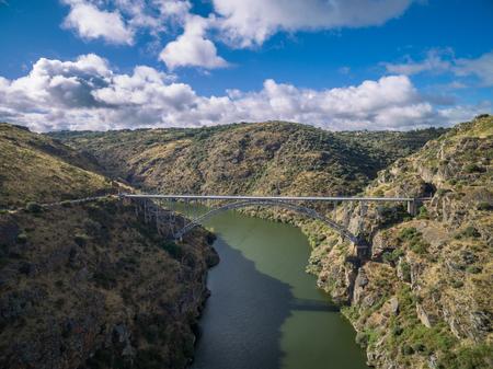 castile and leon: Requejo iron Bridge in Pino del Oro, Castile and Leon, Spain. aerial view Stock Photo