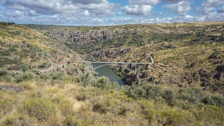 castile leon: Requejo iron Bridge in Pino del Oro, Castile and Leon, Spain. Wide angle view Stock Photo