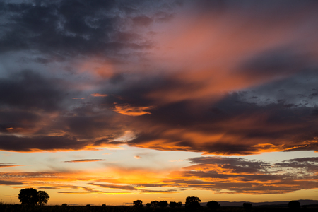 terrific: Amazing sunset with orange and black clouds