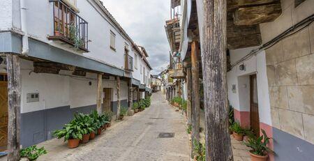 arcades: Woden arcades and vintage street in Guadalupe, Extremadura, Spain