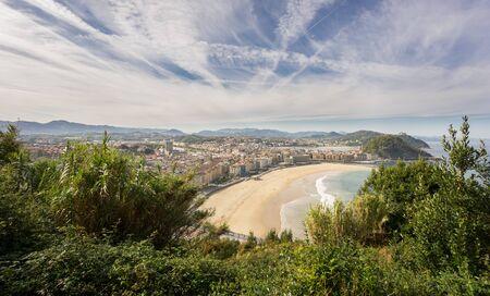 san sebastian: Wide view of San Sebastian beach, Spain Stock Photo