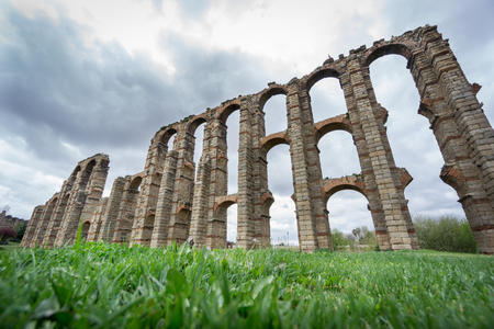buttresses: Perspective view of Aqueduct of the Miracles in Merida, Spain