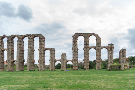buttresses: Front view of Aqueduct of the Miracles in Merida, Spain Stock Photo