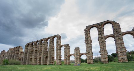 buttresses: Side view of Aqueduct of the Miracles in Merida, Spain