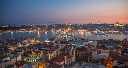 nightview: Long exposure of golden horn with mosques skyline in Istanbul at night