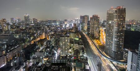 light trails: Wide angle of Tokyo at Night, long exposure, light trails
