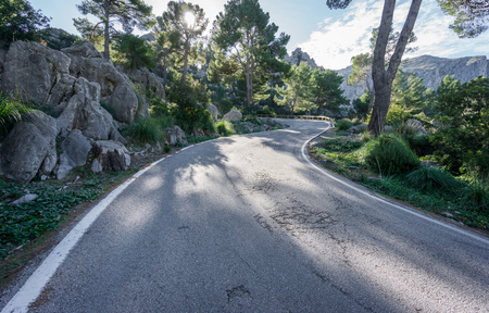 ''wide angle'': Wide angle view mountain with curved road