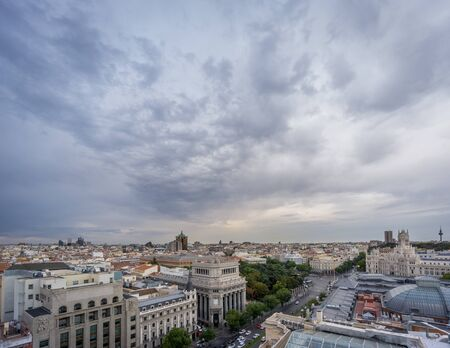 Panoramic skyline of Madrid in a cloudy day, nr3