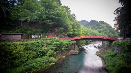 foot bridges: Wide angle with Silk water, long exposure of Shinkyo Bridge in Nikko, Japan