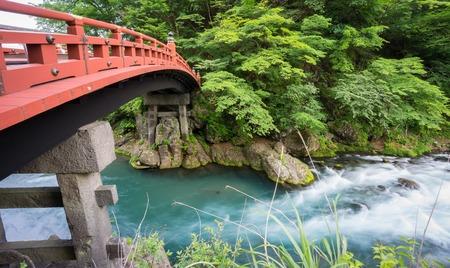 foot bridges: Silk water, closeup long exposure of Shinkyo Bridge in Nikko, Japan