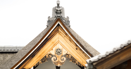 roofed house: Detailed view of top wooden roof in Japanese temple Stock Photo