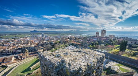 pizarro: Trujillo, panoramic view of the medieval town at dusk in Caceres, Extremadura, Spain