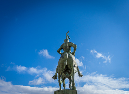 pizarro: Rear view of Francisco Pizarro statue in Trujillo, Caceres, Extremadura, Spain