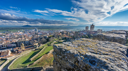 pizarro: Trujillo, panoramic view of the medieval town over wall at dusk in Caceres, Extremadura, Spain