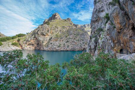 sa: Wide angle view of Sa Calobra on Majorca Island, Spain