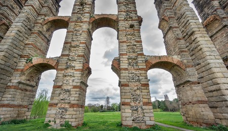 buttresses: Ultra wide view of Aqueduct of the Miracles in Merida, Spain