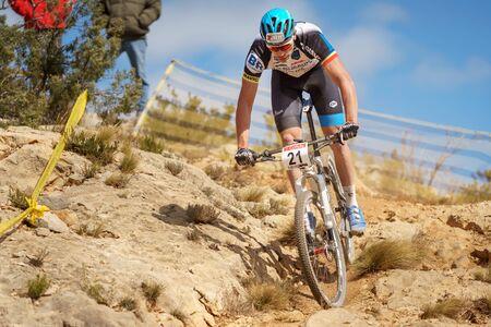 xavi: VALENCIA - MARCH 6: Xavi Borras rider participates in international Chelva MTB-XCO competition in Chelva on march 6, 2016 in Valencia, Spain Editorial