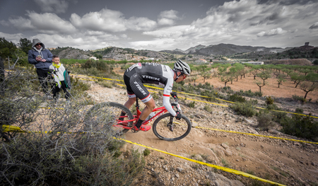 sergio: VALENCIA - MARCH 6: Sergio Mantecon rider participates in international Chelva MTB-XCO competition in Chelva on march 6, 2016 in Valencia, Spain