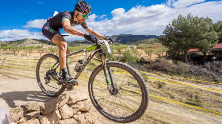 VALENCIA - MARCH 6: Alvaro Martin rider participates in international Chelva MTB-XCO competition in Chelva on march 6, 2016 in Valencia, Spain