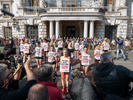 abolition: VALENCIA, SPAIN - MARCH 13: Unidentified people protests against bullfighting in the Fallas exhibition on march 13, 2016 in Valencia, Spain Editorial