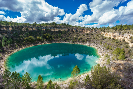 ''wide angle'': Wide angle of round lake in palancares, Cuenca Stock Photo
