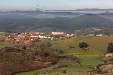 zamora: Detailed view of Vega de Nuez town on top of hill in Zamora, Spain
