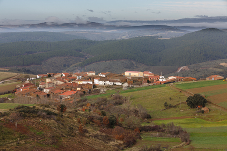 zamora: Detailed view of Vega de Nuez town with vintage houses on top of hill in Zamora, Spain