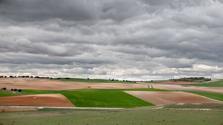 stormy clouds: Cloudy sky and cultivated land, stormy clouds