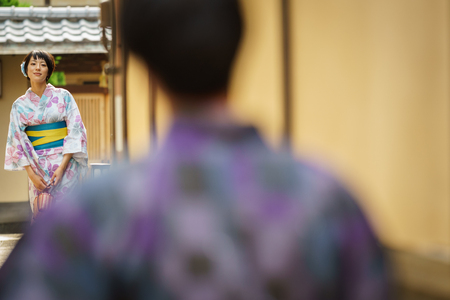traditional clothes: KYOTO, JAPAN - JUNE 10: Unidentified woman dress in traditional clothes, Japanese women usually dress in traditional clothes for a walk in Kyoto on June 10, 2015 in Japan Editorial