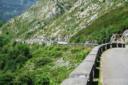 La Huesera, the famous Covadonga cycling ascending stretch road Stock Photo