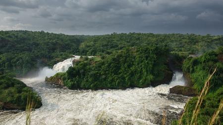 High angle view of Murchison Falls in Nilo River, Uganda