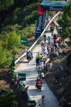 km: CASTELLON - SEPTEMBER 7: Mathias Frank leads the grupo in the last km of Mas de la Costa mountain stage of la vuelta on September 7, 2016 in Castellon, Spain