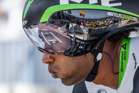 JAVEA - 9 september: Kudus Merhawi bereidt zich voor op de start van de beslissende tijdrit etappe van La Vuelta op 9 september 2016 in Alicante, Spanje