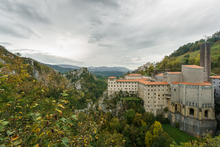 Wide angle view of Ancient Sanctuary of Arantzazu, cloudy day Stock Photo