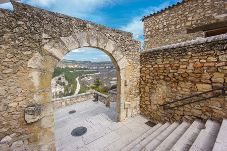 stone arch: Ultra wide angle view of vintage stone arch in Cuenca