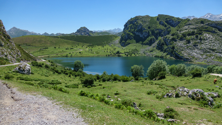 Wide angle view of Enol lake in Asturias, Spain Stock Photo