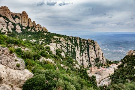 Monastery of Santa Maria de Montserrat in Catalonia, Spain Stock Photo
