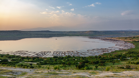 Top view of lake and saltmine Stock Photo