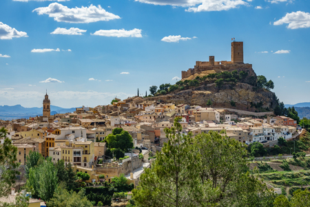 Biar castle at top of hill over town, Alicante, Spain Imagens - 80625859